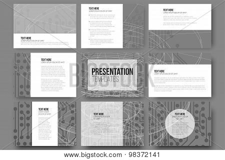 Set of 9 templates for presentation slides. Conceptual design vector templates. Abstract scientific