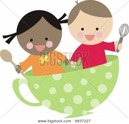 Diversity boy girl cooking flying teacup