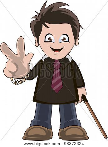 Funny cartoon illustration of a smiling banker