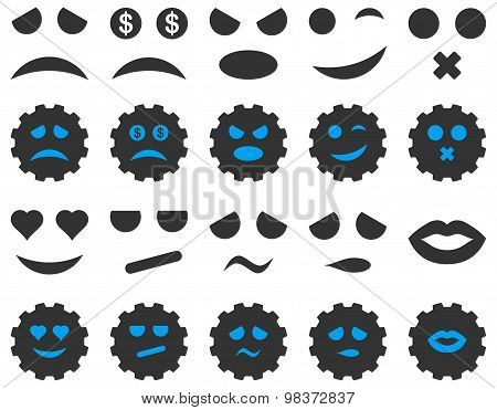 Tool, gear, smile, emotion icons