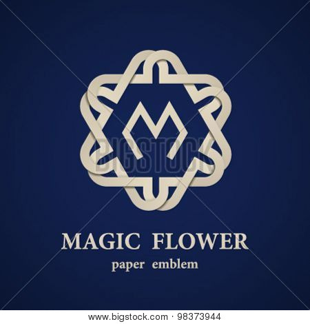 vector abstract magic paper flower eternity emblem
