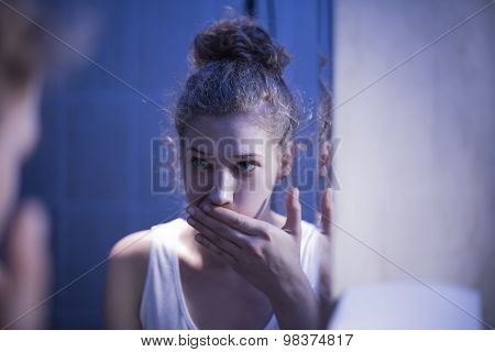 Vomiting Girl Suffering From Bulimia
