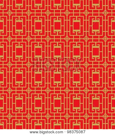 Golden seamless Chinese window tracery square cross pattern background.