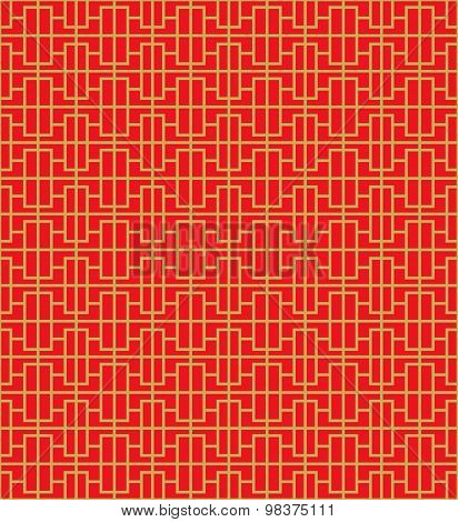 Golden seamless Chinese window tracery square line pattern background.