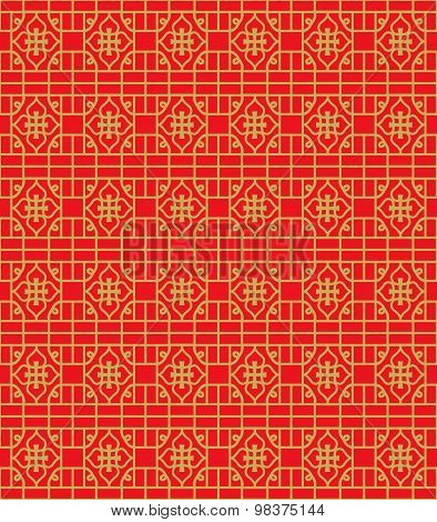 Golden seamless Chinese window tracery line pattern background.