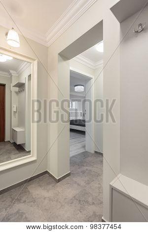 White Corridor In Modern Flat