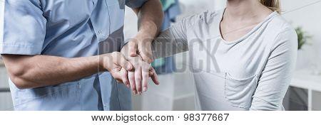 Massaging Contused Wrist