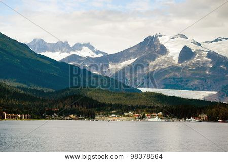 Ferry Boat View Leaving Ship Port Juneau Alaska United States