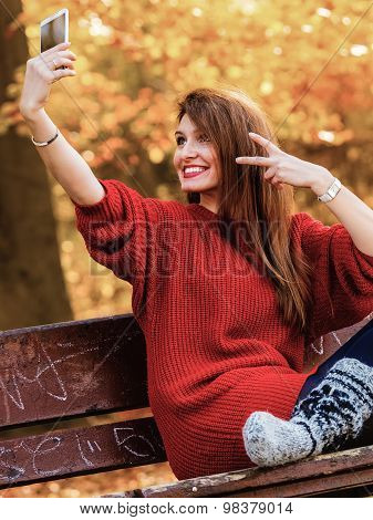 Girl Taking Self Picture Selfie With Smartphone Camera Outdoors