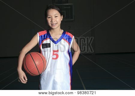 A asian basketball player in gymnase field