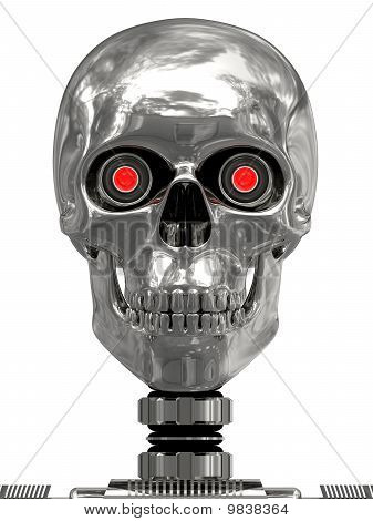 Metallic Cyborg Head With Red Eyes