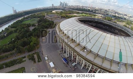 MOSCOW - AUG 16, 2014: Repair Stadium Luzhniki in Olympic Complex, aerial view