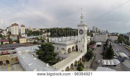 SOCHI, RUSSIA - AUG 4, 2014: The building of the railway station in Sochi, aerial view. It was built in 1952.