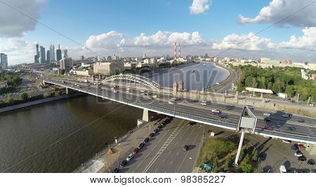 MOSCOW - AUG 16, 2014: Railway Krasnoluzhsky bridge and Berezhkovskii bridge over the Moscow river, aerial view