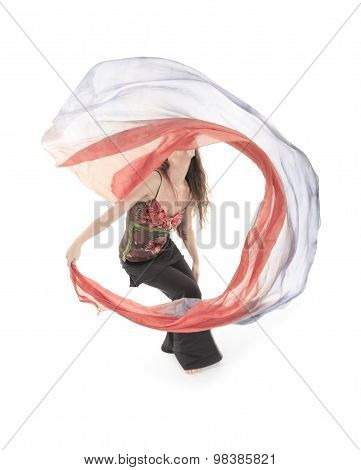 belly dancer over a white background