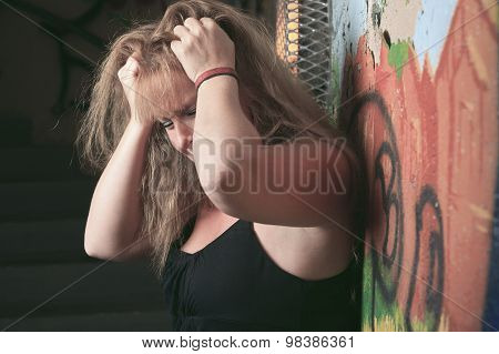 woman having bad time in a tunnel