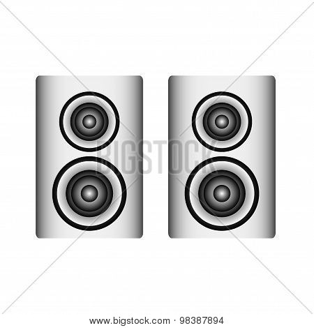 Twin Silver Loudspeaker On White Background