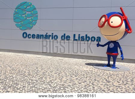 LISBON, PORTUGAL - July 27: Vasco mascot at the Lisbon Oceanarium (Oceanario de Lisboa) on July 27, 2015 in Lisbon, Portugal
