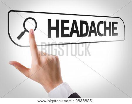 Headache written in search bar on virtual screen