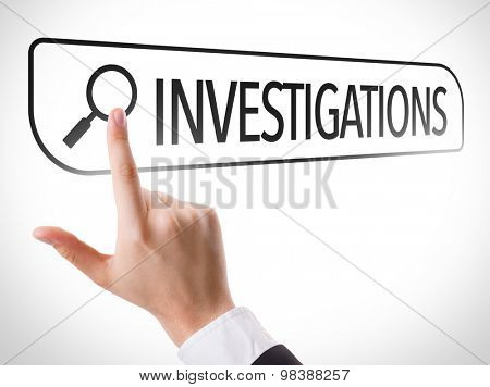 Investigations written in search bar on virtual screen