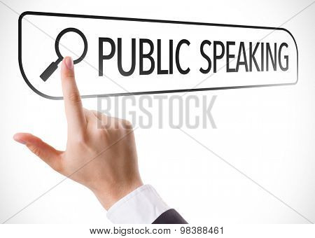 Public Speaking written in search bar on virtual screen