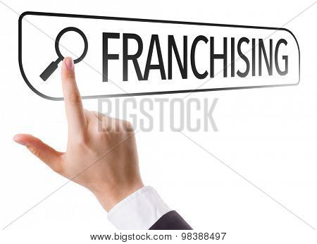 Franchising written in search bar on virtual screen