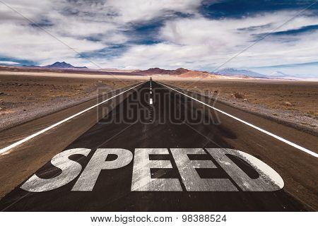 Speed written on desert road