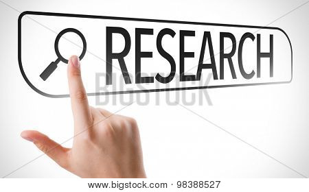 Research written in search bar on virtual screen