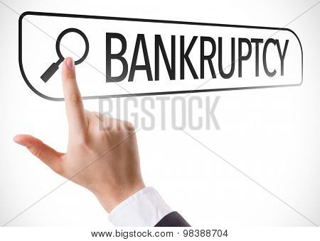 Bankruptcy written in search bar on virtual screen