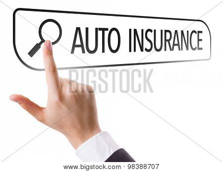 Auto Insurance written in search bar on virtual screen