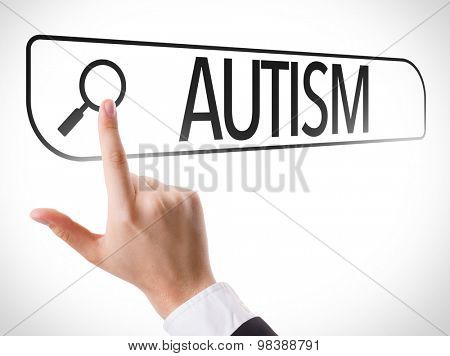 Autism written in search bar on virtual screen