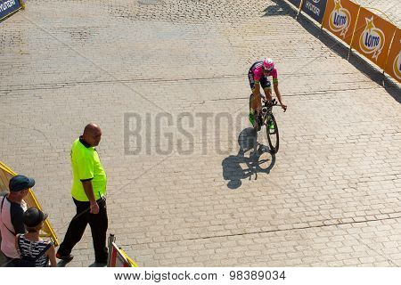 KRAKOW, POLAND - AUG 8, 2015: Unidentified participants of 72th Tour de Pologne cycling 7th stage race. Tour de Pologne is the biggest cycling event in Eastern Europe.