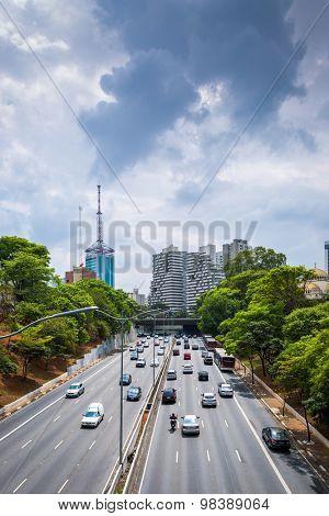 SAO PAULO, BRAZIL - CIRCA JAN 2015: Traffic in the famous 23 de Maio Avenue in Sao Paulo, Brazil.