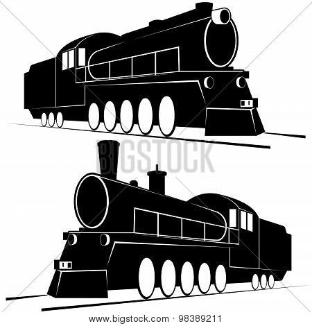 Abstract vintage locomotives