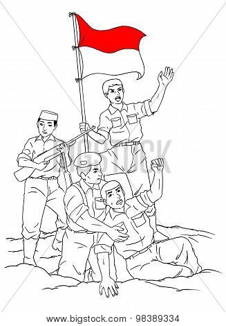 Wounded Indonesian soldier and flag