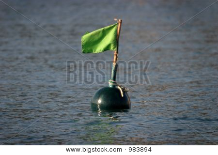 Green Buoy In The Sea