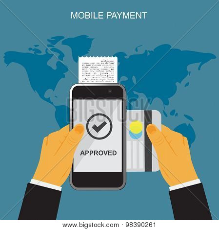 Mobile payment, hands holding smartphone and credit card, online banking, vector illustration in fla