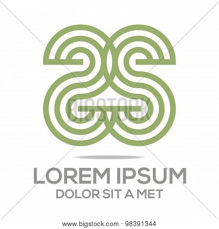 Abstract logo alphabet letter S green vector