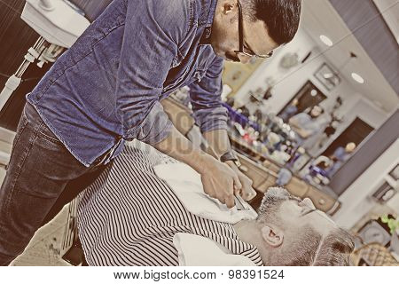 Barber Shaving Beard.