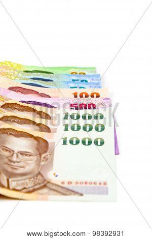 Stack Of Thai Money On White Background