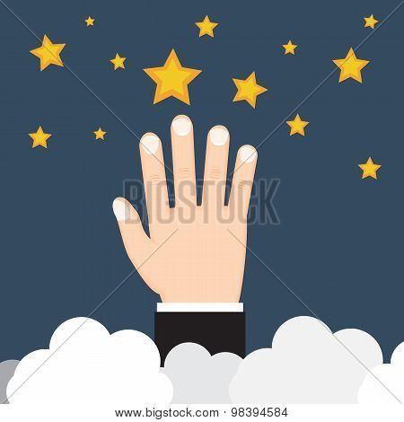 Achieving Goal. Hand Touch The Star