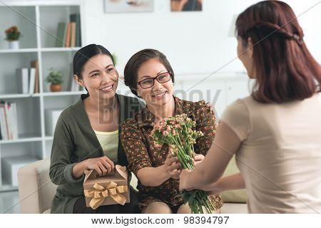 Giving flowers and presents