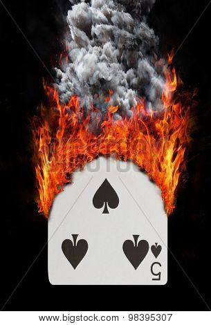 Playing Card With Fire And Smoke