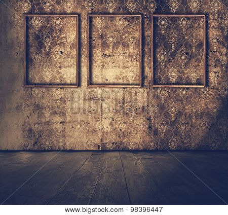 Old grunge room with wooden frames, retro filtered, instagram style