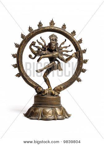 Statue Of Indian Hindu God Dancing Shiva Nataraja. Isolated On White Background
