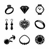 Jewelry monochrome icons set with - rings, diamonds, watch, earings, pendant, cuff links, necklace. poster