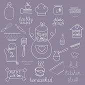 Постер, плакат: Kitchen tools set Kitchen utensils isolated Kitchen equipment collection Hand drawn kitchen doodles