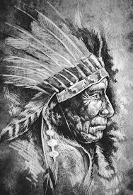 picture of indian chief  - Sketch of tattoo art - JPG