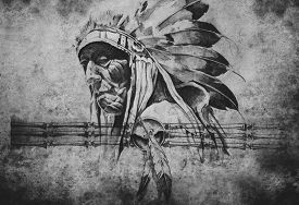 pic of indian chief  - Tattoo sketch of American Indian tribal chief warrior - JPG