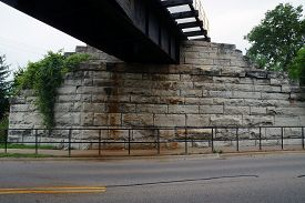 pic of underpass  - In an underpass under a railway bridge near downtown Minooka - JPG